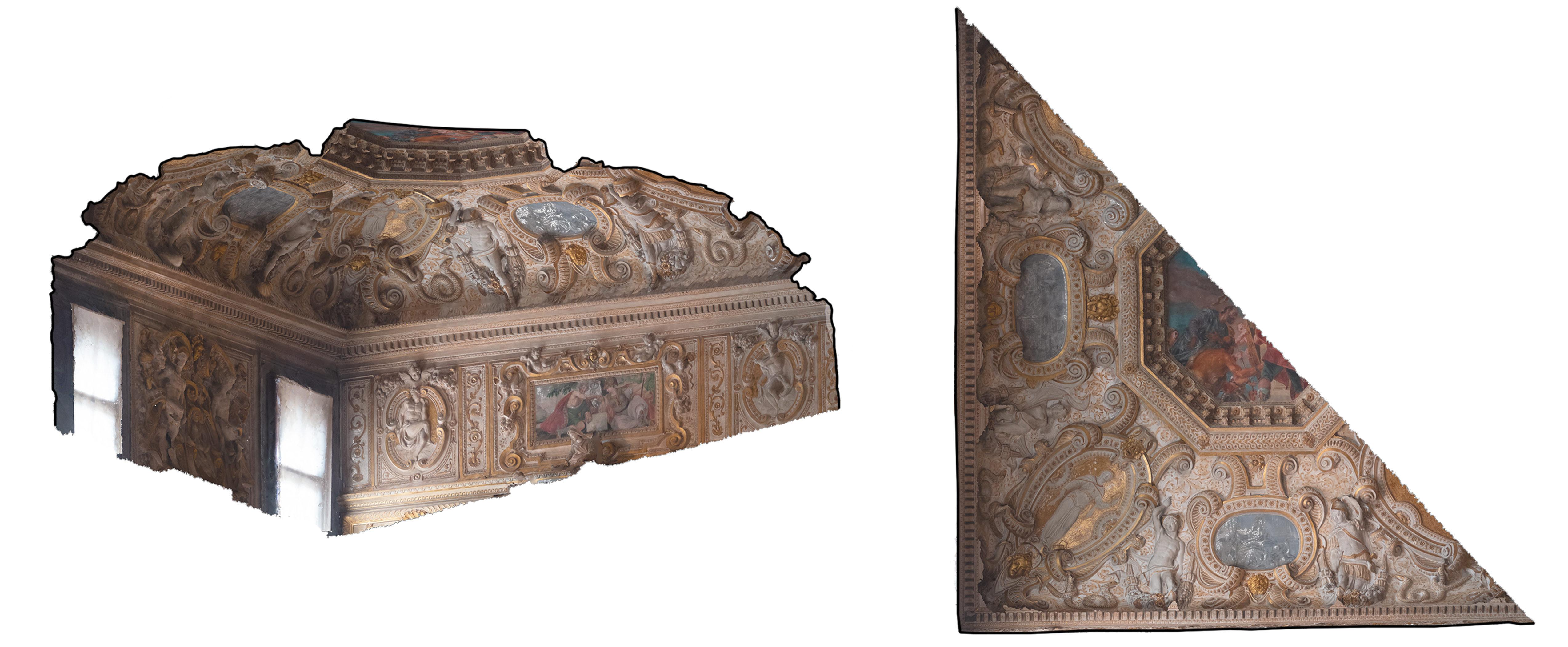 Rilievo fotogrammetrico di una porzione del soffitto decorato dell'atrio quadrato del Palazzo Ducale di Venezia