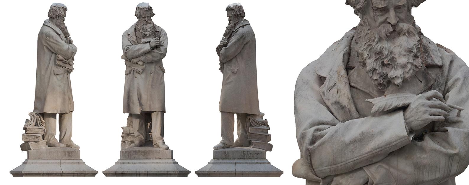 Rilievo fotogrammetrico statua di Nicolò Tommaseo, Campo Santo Stefano - Venezia. Francesco Barzaghi (Milano 1839)