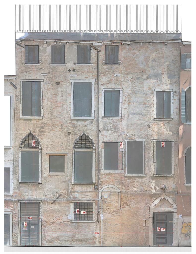 Rilievo fotogrammetrico facciata calle - fotoraddrizzamento e ridisegno