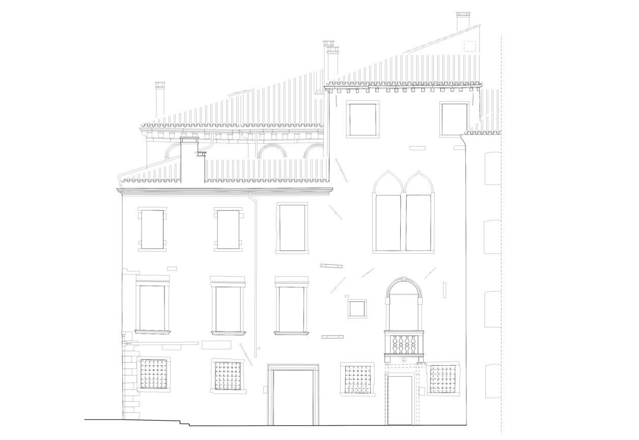 Rilievo fotogrammetrico facciata disegno vettoriale